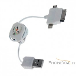 Cable retractil 3 en 1 micro-usb iphone 4  iphone 5